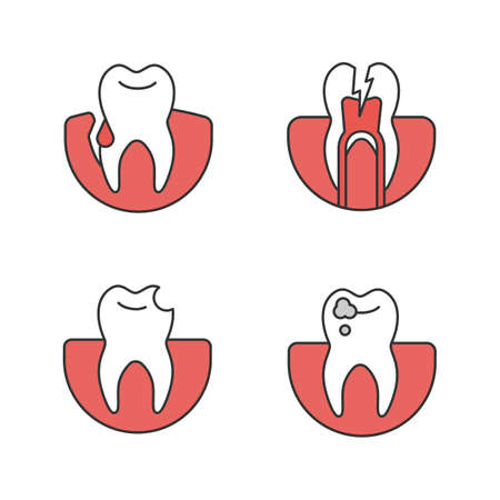 Dentistry color icons set. Stomatology. Gum bleeding, toothache, broken tooth, caries. Isolated vector illustrations