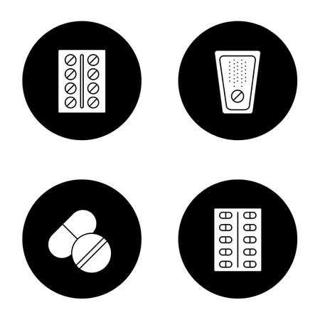 Pills glyph icons set. Medications. Vector white silhouettes illustrations in black circles Иллюстрация