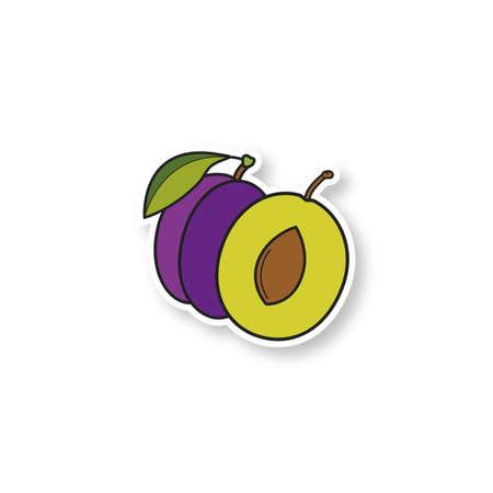 Patch prune. Autocollant de couleur. Illustration vectorielle isolée