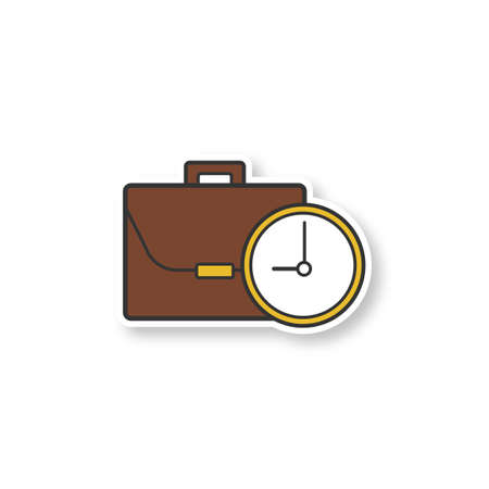 Work time patch. Business briefcase with clock. Color sticker. Vector isolated illustration