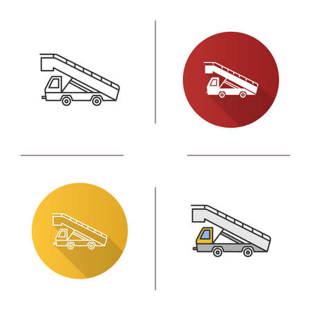 Stair truck icon. Airstair. Passenger gangway. Flat design, linear and color styles. Isolated vector illustrations
