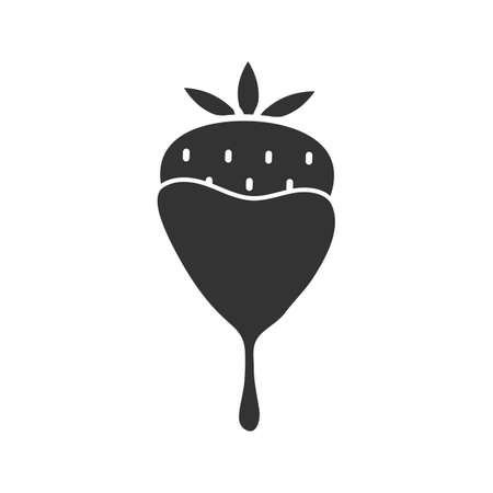 Chocolate covered strawberry glyph icon. Silhouette symbol. Negative space. Vector isolated illustration