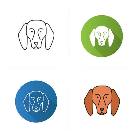 Beagle icon. Hound dog breed. Flat design, linear and color styles. Isolated vector illustrations