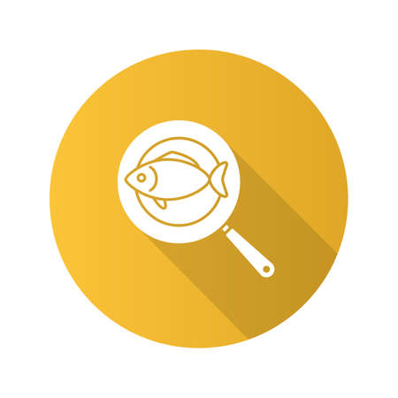 Fish on frying pan flat design long shadow glyph icon. Vector silhouette illustration