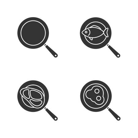 Frying pans glyph icons set. Fried fish, eggs and meat steak. Silhouette symbols. Vector isolated illustration