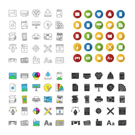 Printing icons set. Polygraphy and typography. Posters, flyers, brochures, booklets templates. Linear, flat design, color and glyph styles. isolated vector illustrations
