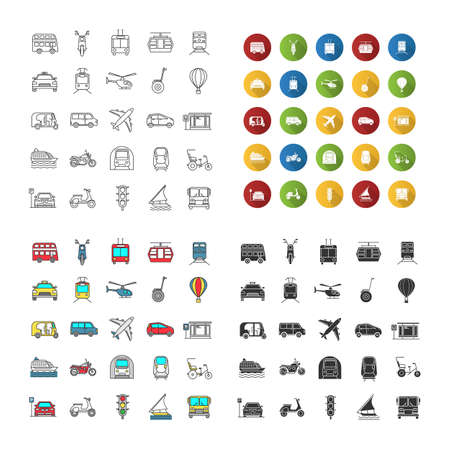 Public transport icons set. Water, land and air vehicles. Modes of transport. Linear, flat design, color and glyph styles. isolated vector illustrations Vectores
