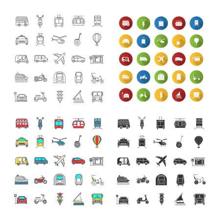 Set di icone di trasporto pubblico. Veicoli nautici, terrestri e aerei. Mezzi di trasporto. Stili lineari, design piatto, colore e glifo. illustrazioni vettoriali isolate Vettoriali