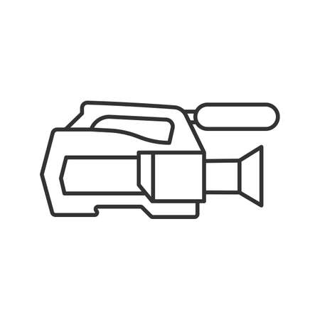 Video camera linear icon. Thin line illustration. Videotaping. Contour symbol. Vector isolated outline drawing
