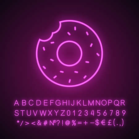 Bitten donut neon light icon. Bagel. Glowing sign with alphabet, numbers and symbols. Vector isolated illustration
