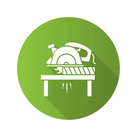 Circular saw cutting wooden plank flat linear long shadow icon. Disc saw. Vector outline symbol Illustration