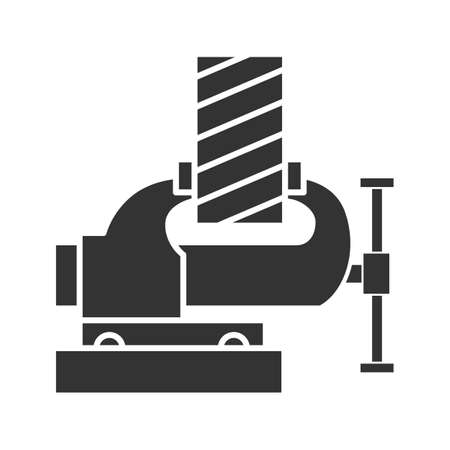 Icono de glifo de tablón de madera de fijación de tornillo de banco. Símbolo de silueta. Espacio negativo. Ilustración de vector aislado