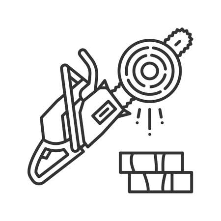 Chainsaw linear icon. Logging. Thin line illustration. Petrol-driven power chainsaw. Contour symbol. Vector isolated outline drawing