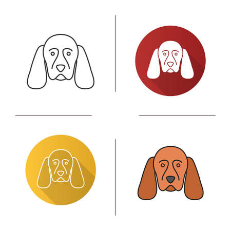 Cocker Spaniel icon. Gundog breed. Flat design, linear and color styles. Isolated vector illustrations