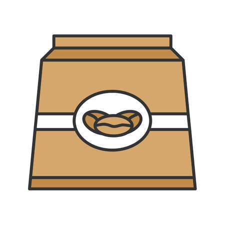 Coffee paper package color icon. Isolated vector illustration