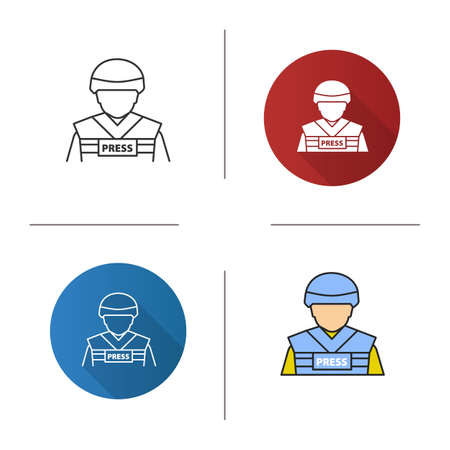 War correspondent icon. Military journalist. Flat design, linear and color styles. Isolated vector illustrations Illustration