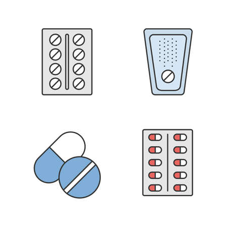 Pills color icons set. Medications. Isolated vector illustrations