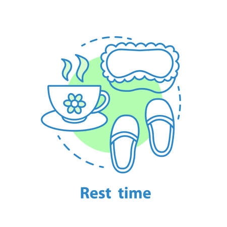 Bedtime concept icon. Sleeping idea thin line illustration. Rest time. Vector isolated outline drawing