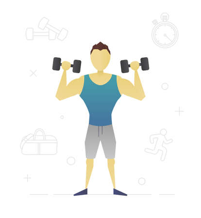 Person with dumbbells flat character design. Sportsman, bodybuilder. Vector isolated illustration