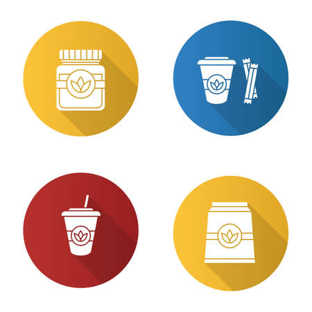 Tea drinks flat design long shadow glyph icons set. Detox herbs and cocktails. Vector silhouette illustration