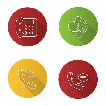 Conjunto de iconos de larga sombra lineal plana de comunicación telefónica. Teléfono fijo, auricular en mano, llamada entrante, mensaje de voz. Ilustración de contorno vectorial