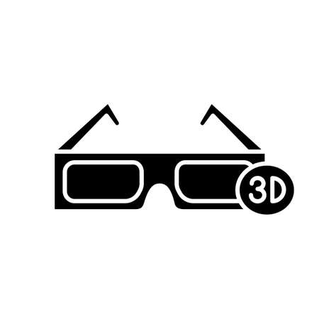 3D glasses glyph icon. Polarized anaglyph glasses. Silhouette symbol. Negative space. Vector isolated illustration