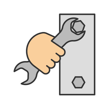 Hand holding wrench color icon. Double open ended spanner turning bolt. Isolated vector illustration