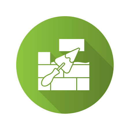 Brick wall with triangular shovel flat linear long shadow icon. Putty knife, spatula. Cement solution. Vector outline symbol