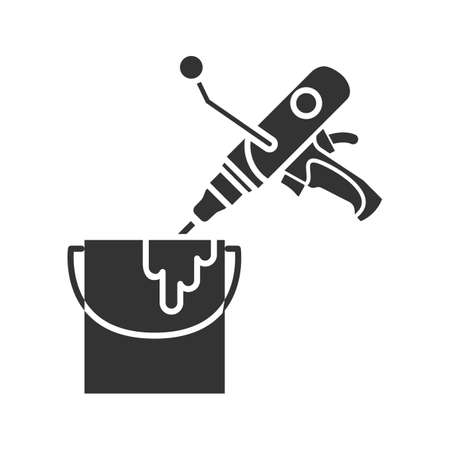 Paint mixer in bucket glyph icon. Silhouette symbol. Hand held cement mixer. Negative space. Vector isolated illustration Vector Illustration