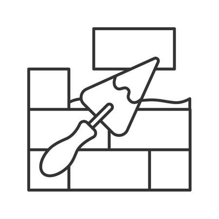 Pared de ladrillo con icono lineal de pala triangular. Ilustración de línea fina. Espátula, espátula. Solución de cemento. Símbolo de contorno. Dibujo de contorno aislado del vector