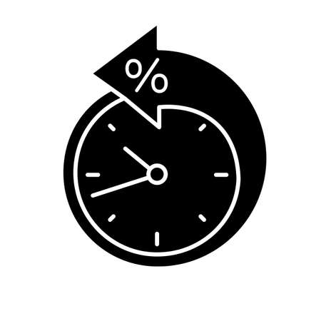 Back arrow around clock with percent glyph icon. Counterclockwise. Debt reschedule. Payment terms. Silhouette symbol. Negative space. Vector isolated illustration Illustration