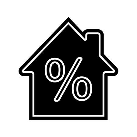 Mortgage interest rate glyph icon. House with percent inside. Silhouette symbol. Negative space. Vector isolated illustration Ilustração