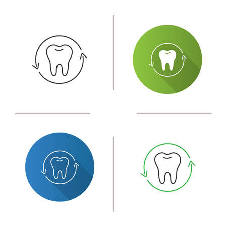 Teeth restoration icon. Dentistry. Tooth in circle arrow. Flat design, linear and color styles. Isolated vector illustrations