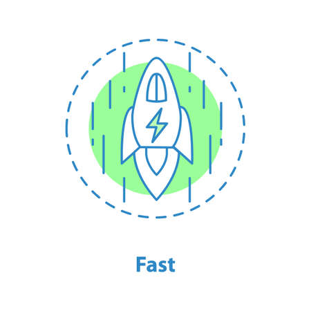 Fast speed concept icon. Startup idea thin line illustration. Vector isolated outline drawing Ilustração