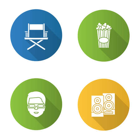 Cinema flat design long shadow glyph icons set. Directors chair, stereo system, 3D glasses, popcorn. Vector silhouette illustration