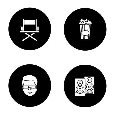 Cinema glyph icons set. Directors chair, stereo system, 3D glasses, popcorn. Vector white silhouettes illustrations in black circles Illustration