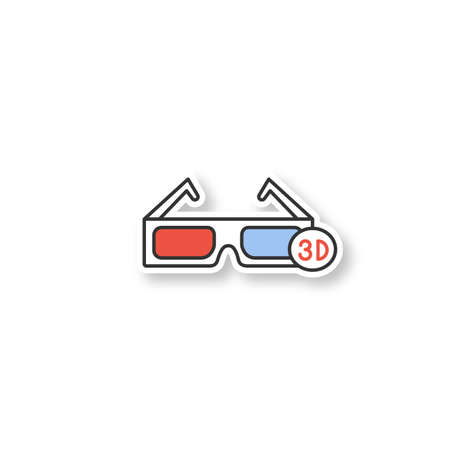 3D glasses patch. Polarized anaglyph glasses. Color sticker. Vector isolated illustration