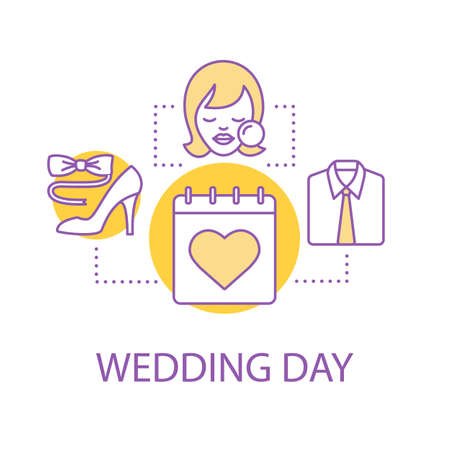 Wedding day preparation concept icon. Holiday dress and makeup idea thin line illustration. Vector isolated outline drawing 일러스트