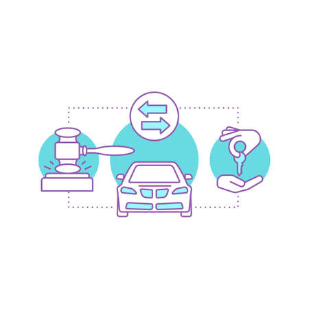 Division of property concept icon. Chattel auction. Car buying, rent or sale. Vector isolated outline drawing Vettoriali