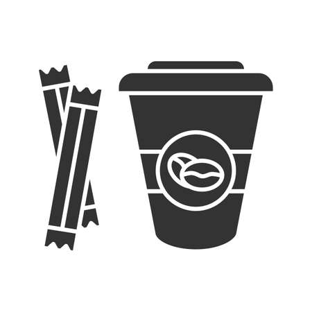 Coffee to go with sugar sachetsglyph icon. Disposable coffee cup with lid. Silhouette symbol. Negative space. Vector isolated illustration