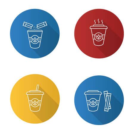 Tea drinks flat linear long shadow icons set. Detox cocktails. Vector outline illustration
