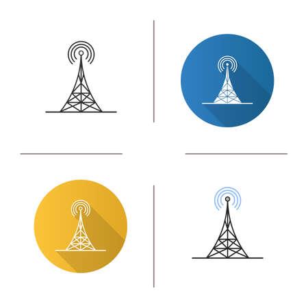 Icône de la tour radio. Antenne. Design plat, styles linéaires et couleurs. Illustrations vectorielles isolées Vecteurs