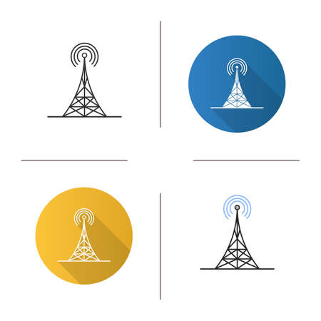 Radio tower icon. Antenna. Flat design, linear and color styles. Isolated vector illustrations