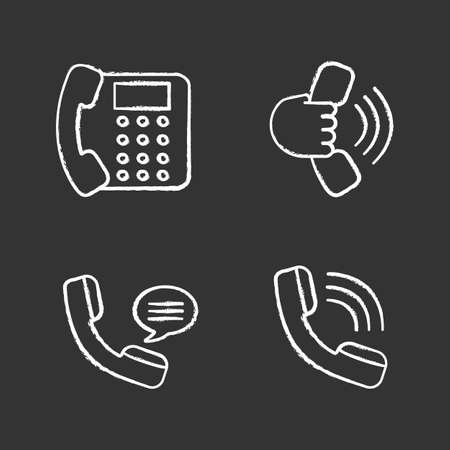 Phone communication chalk icons set. Landline phone, handset in hand, incoming call, voice message. Isolated vector chalkboard illustrations