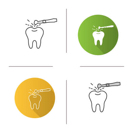 Tooth drilling process icon. Dentistry. Dental handpiece. Flat design, linear and color styles. Isolated vector illustrations