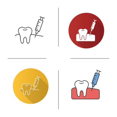 Gum injection icon. Dental anesthesia. Flat design, linear and color styles. Isolated vector illustrations