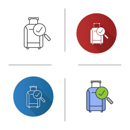 Baggage allowance icon. Successful luggage check. Suitcase with checkmark. Flat design, linear and color styles. Isolated vector illustrations