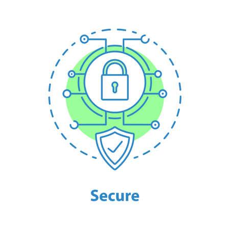 Internet security concept icon. Digital protection idea thin line illustration. Vector isolated outline drawing