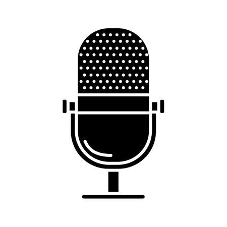 Microphone linear glyph icon. Radio broadcasting. Silhouette symbol. Negative space. Vector isolated illustration 向量圖像