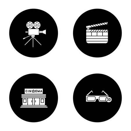 Cinema glyph icons set. Movie camera, cinema building, 3D glasses, clapperboard. Vector white silhouettes illustrations in black circles